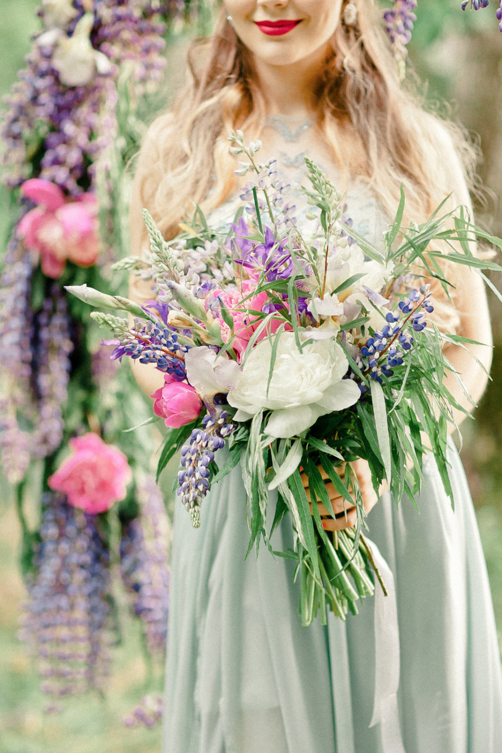 beautiful lupine and willow wedding bouquet