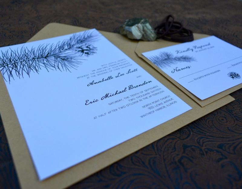 Our rustic, woodland winter wedding invitation suite, by Lucky Invitations.