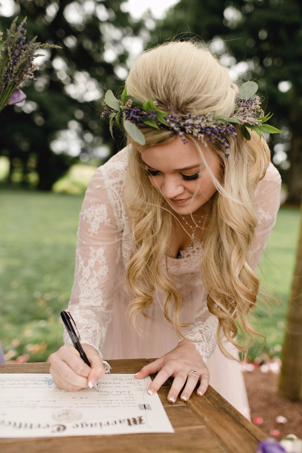 Beautiful wedding hair and floral crown