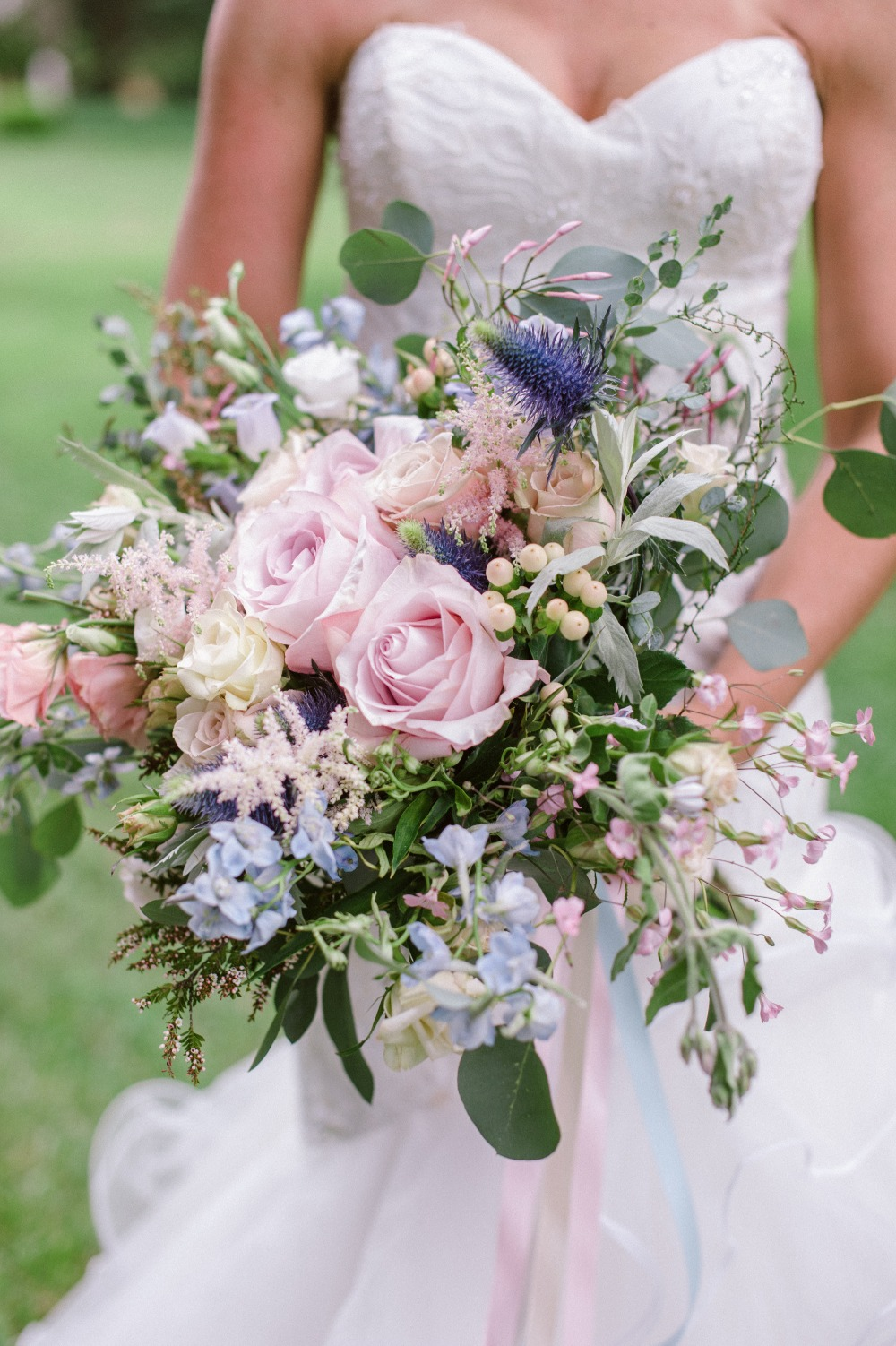 blue and pink wedding bouquet