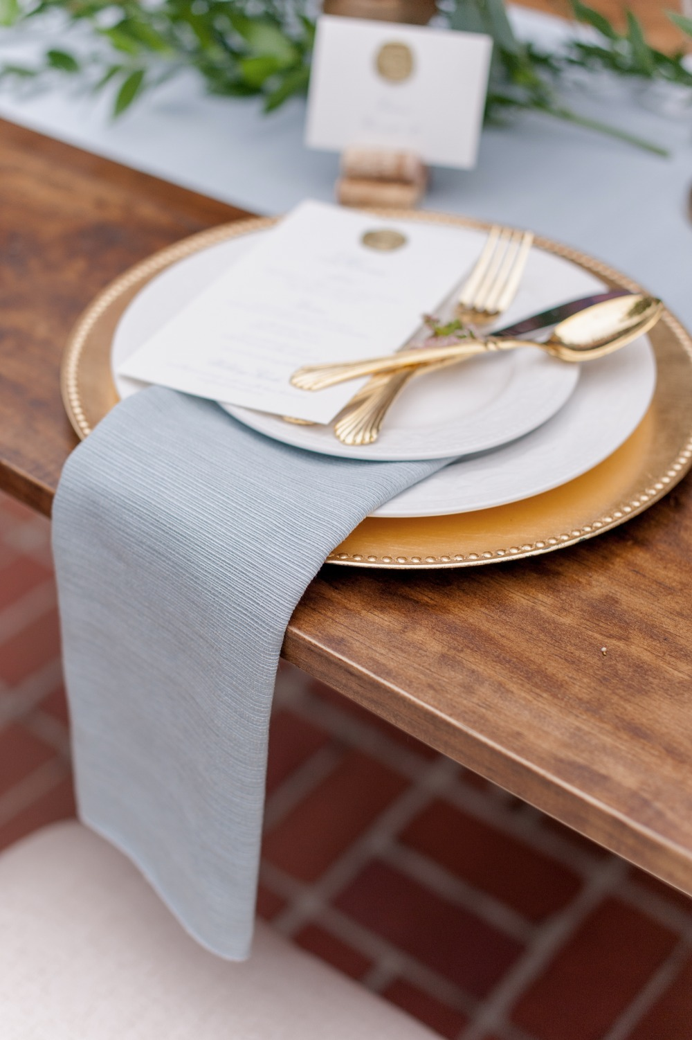 dusty blue gold place setting