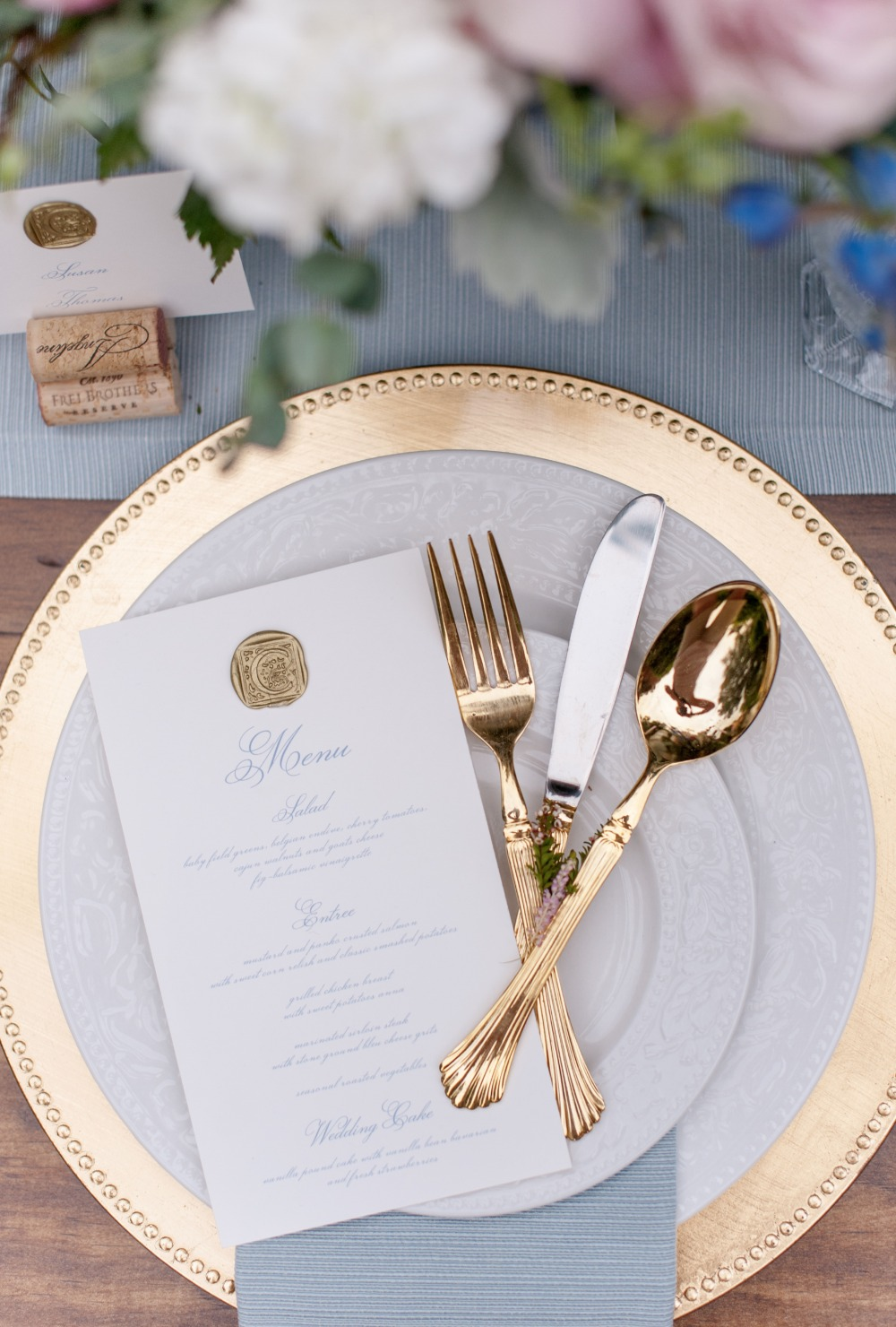 gold and white wedding china