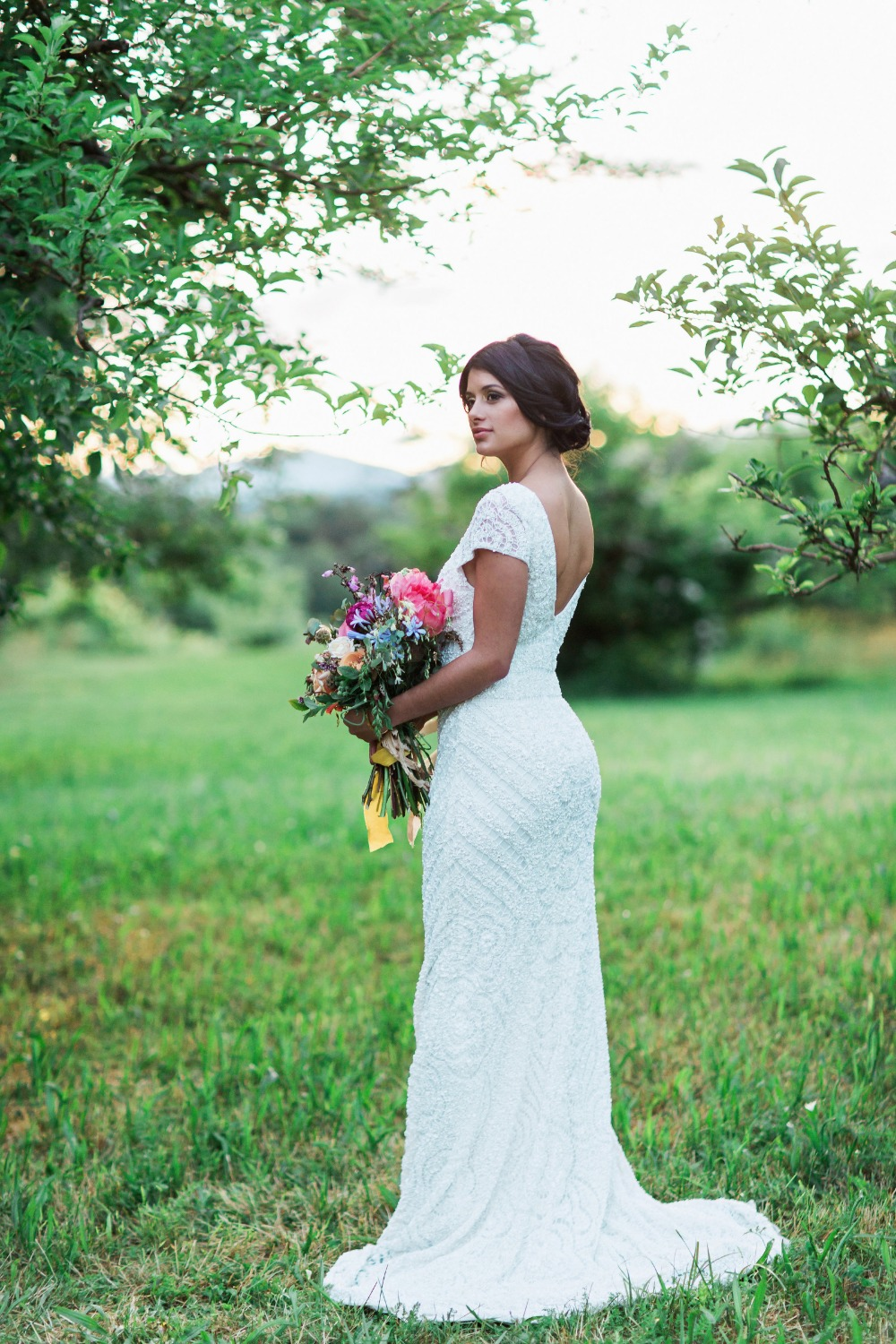 Beaded Theia wedding dress