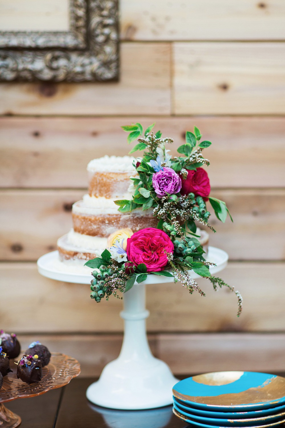 Sweetheart naked cake with florals