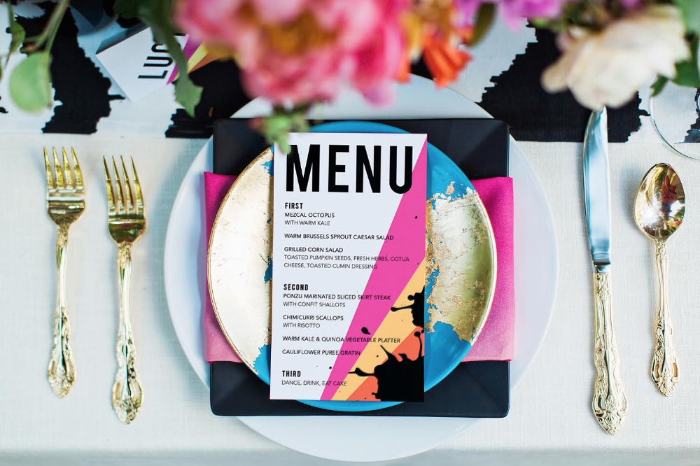 Modern and edgy table menu