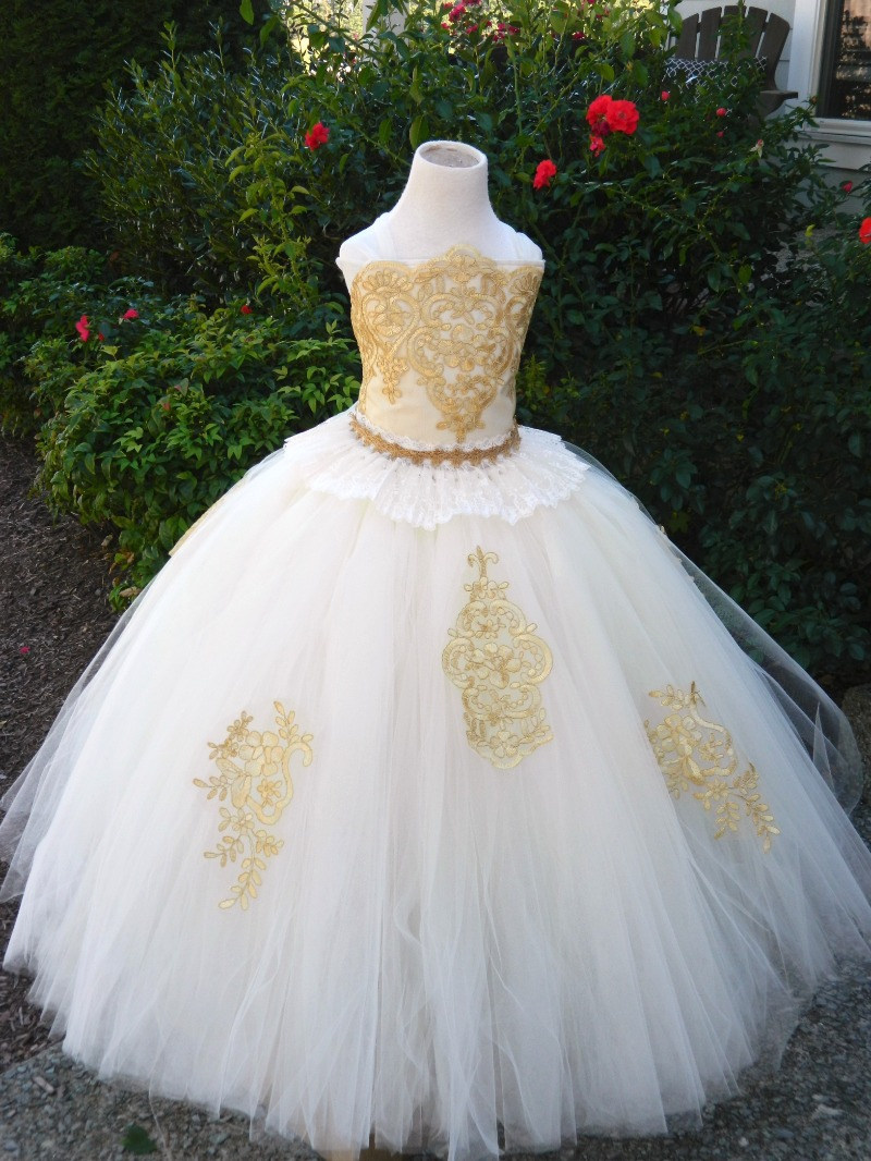 Gold and ivory flower girl dress! Skirt and ruffle peplum available in adult sizes as well...