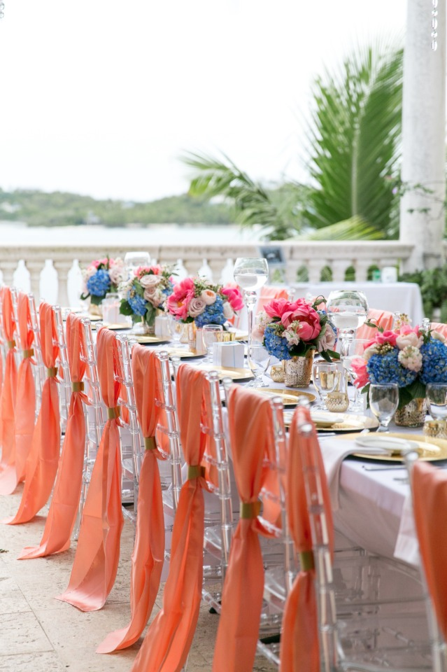 blue pink and salmon with gold accents wedding reception