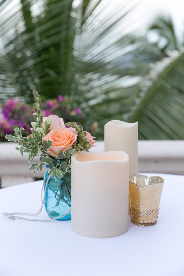 faux candle and flower centerpiece
