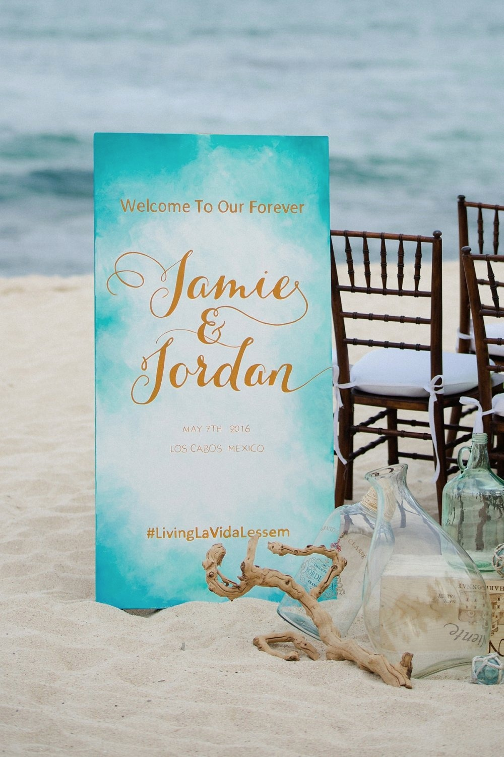 Watercolor blue and gold wedding sign