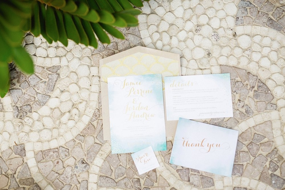 Beachy wedding invitation