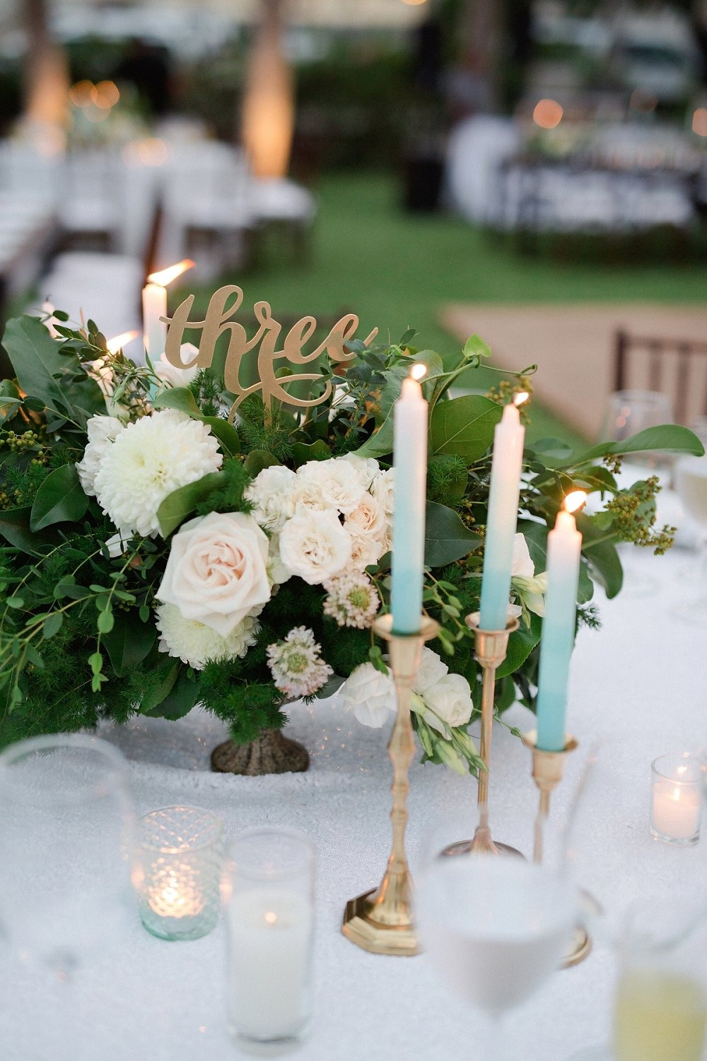 Romantic table decor with candle light
