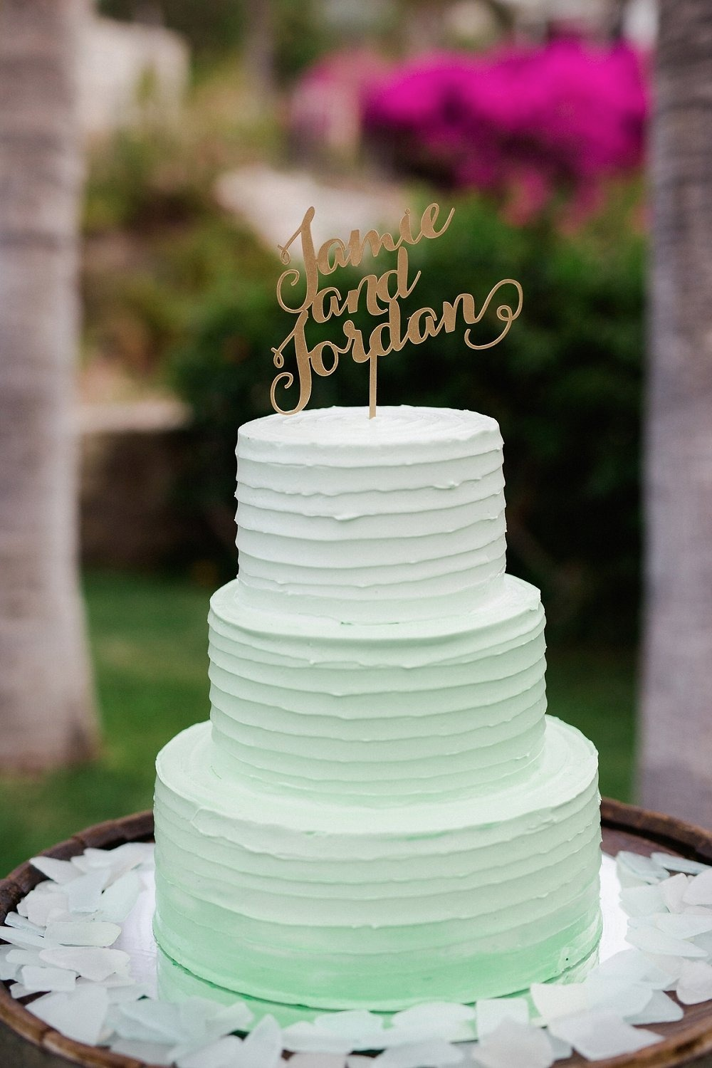 Ombre mint green wedding cake