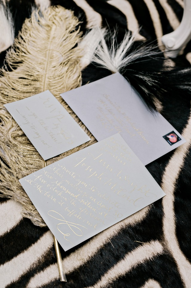soft grey and gold wedding invitation