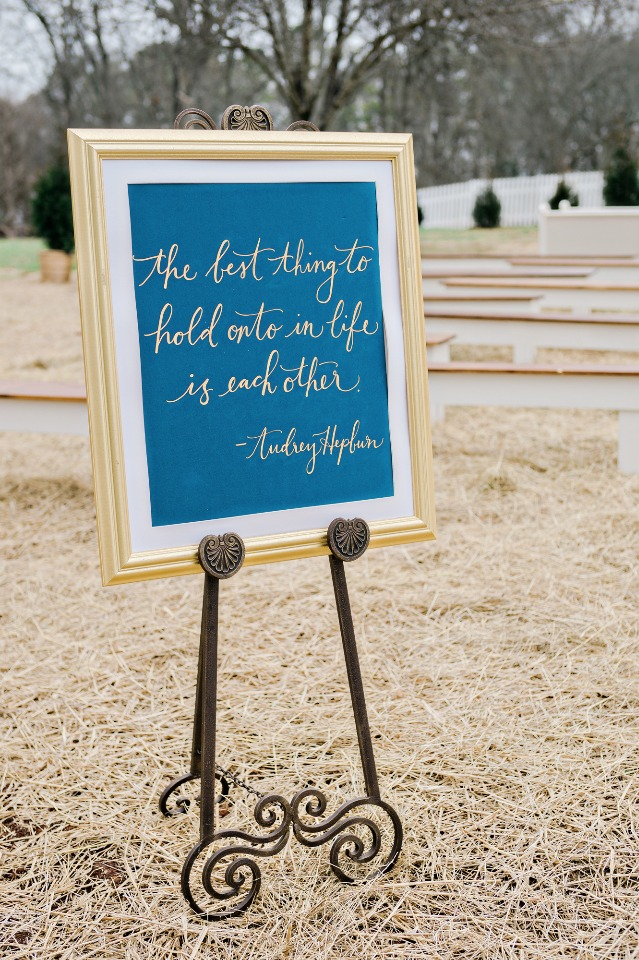 The best thing to hold onto in life is each other wedding sign
