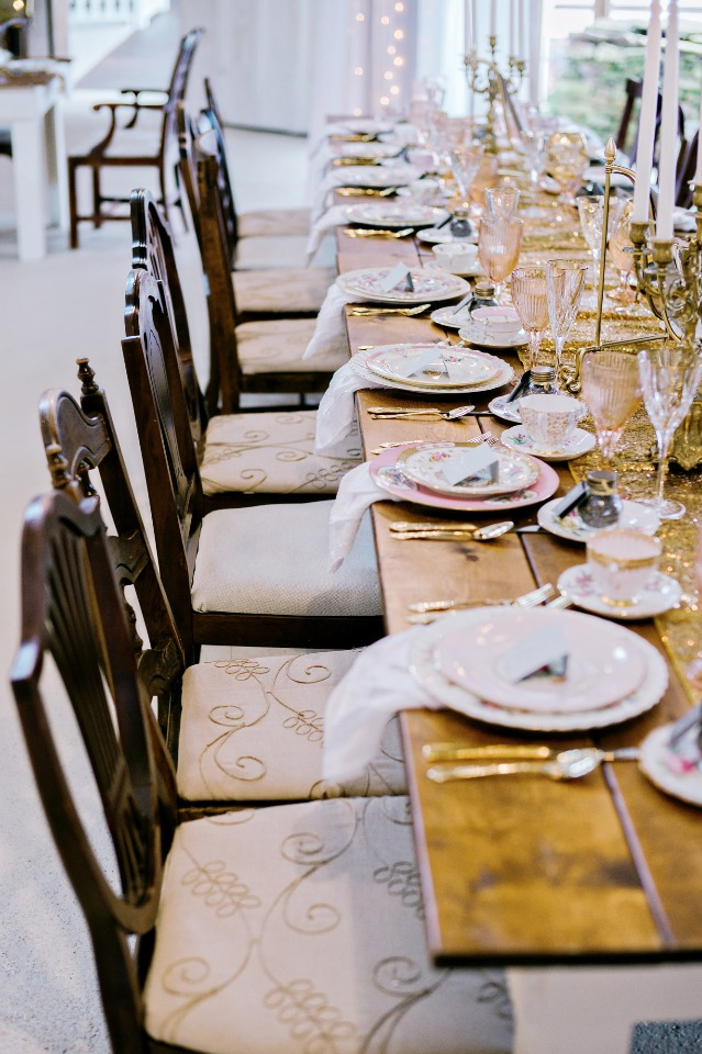 vintage rustic glam wedding reception