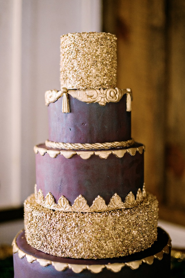 deep wine and gold wedding cake