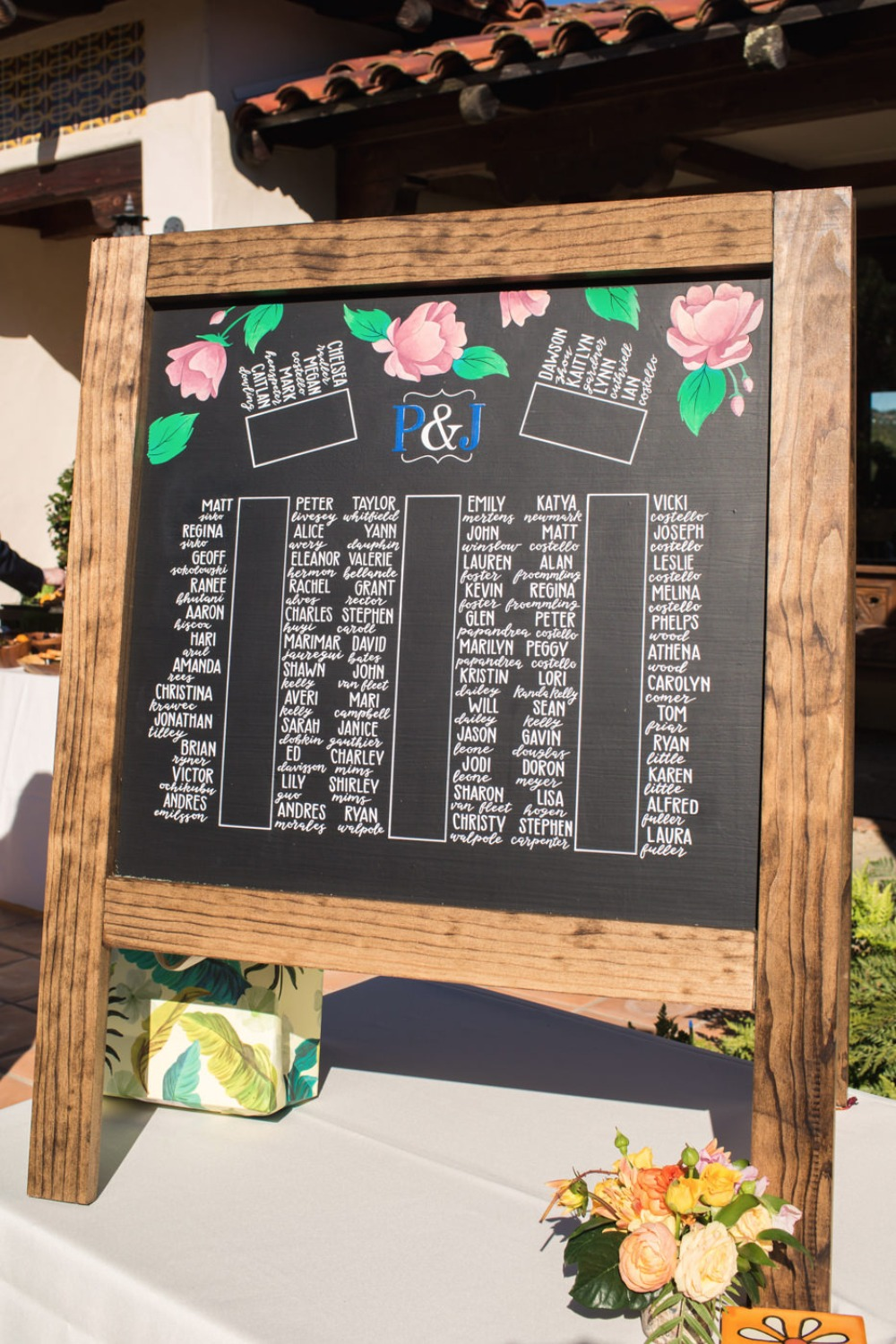 Large chalkboard seating chart