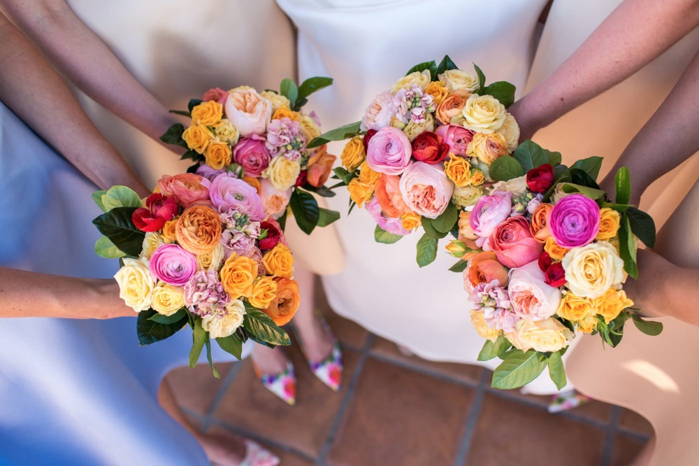 Bright and colorful wedding bouquets