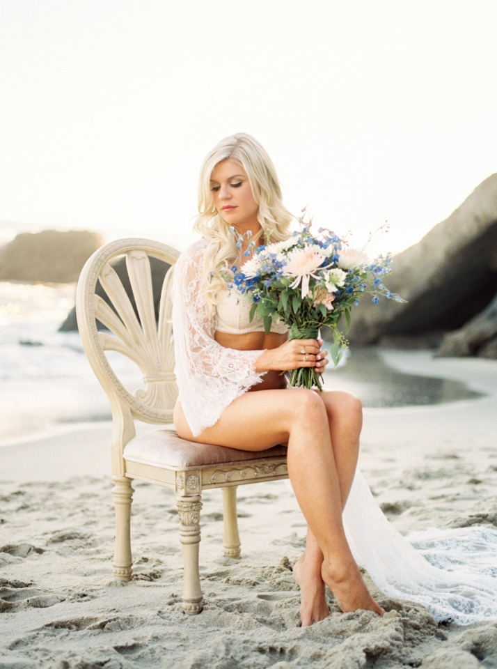 sweet bridal shoot on the beach