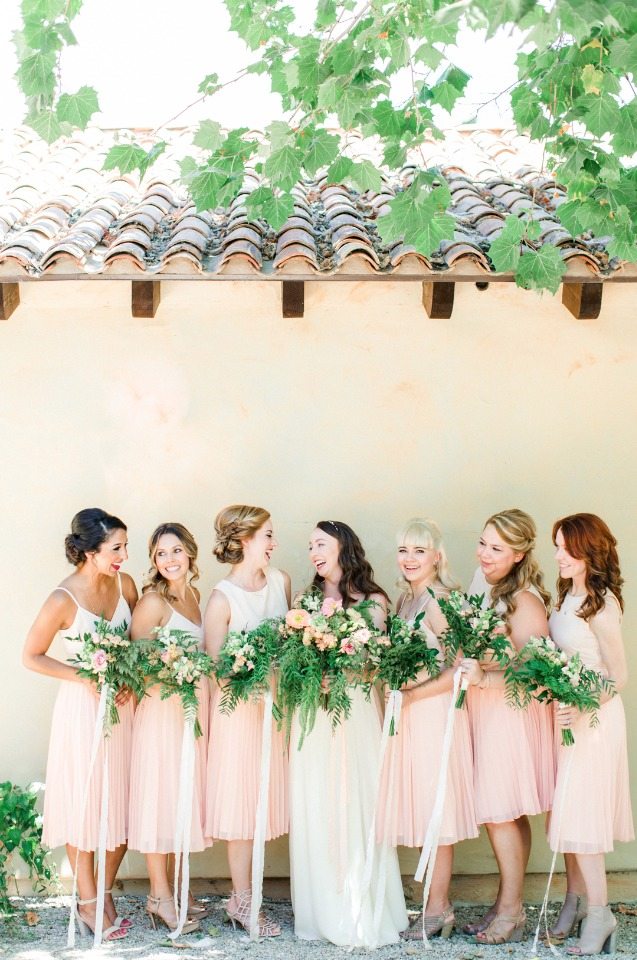 blush bridesmaids with organic style bouquets