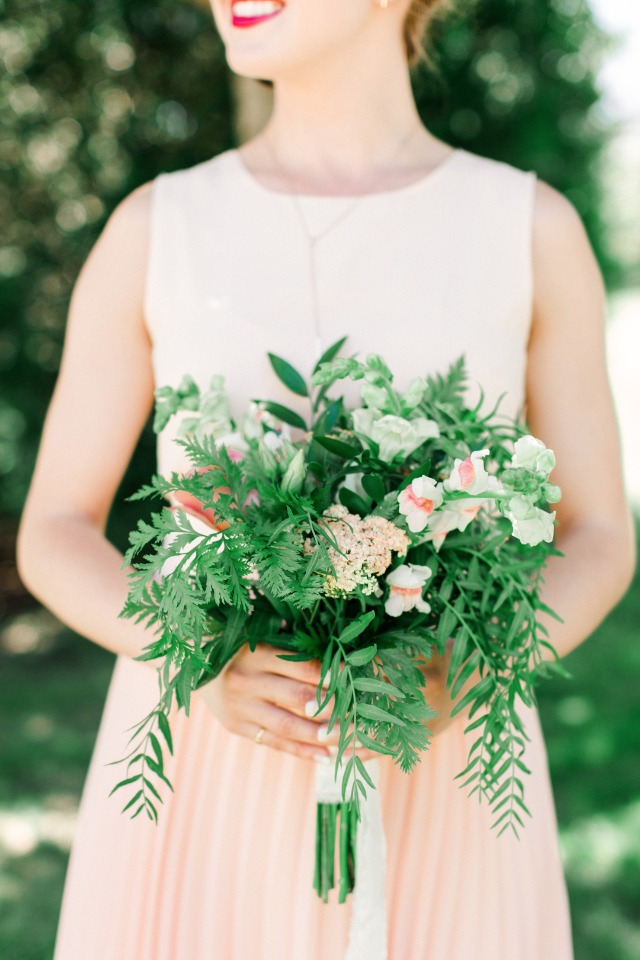 blush bridesmaid with organic bouquet