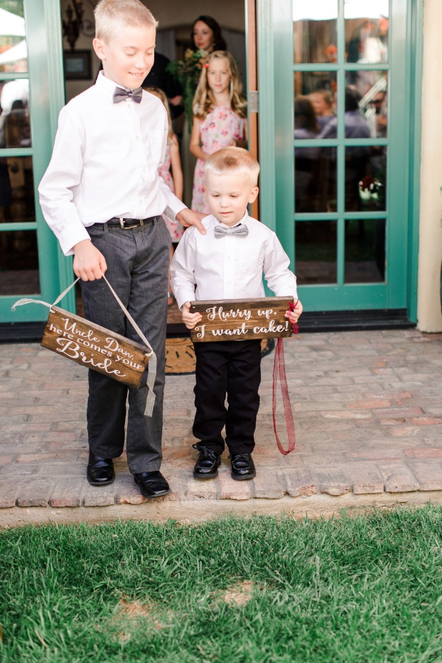 ring bearer signs, hurry up I want cake
