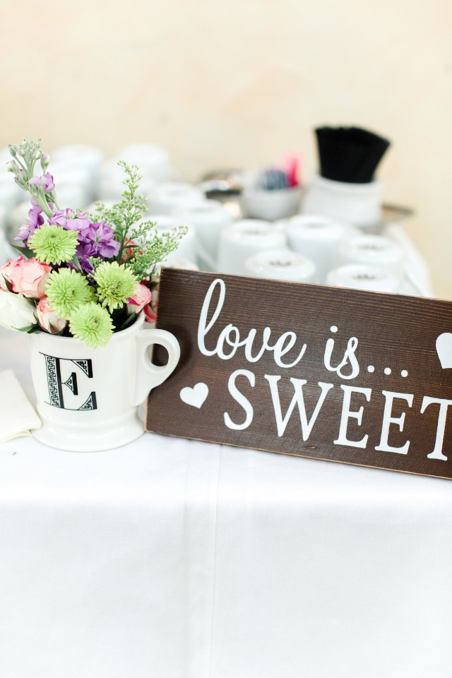 love is sweet cake table sign