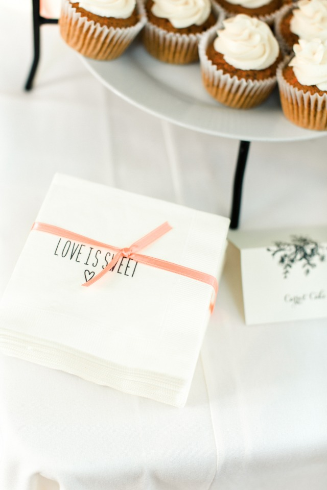 ribbon tied love is sweet napkins