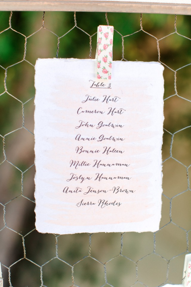 blush watercolor wedding seating assignment card