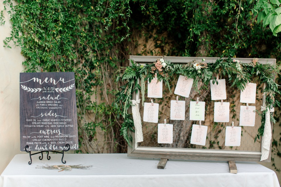 seating assignments and menu for the reception