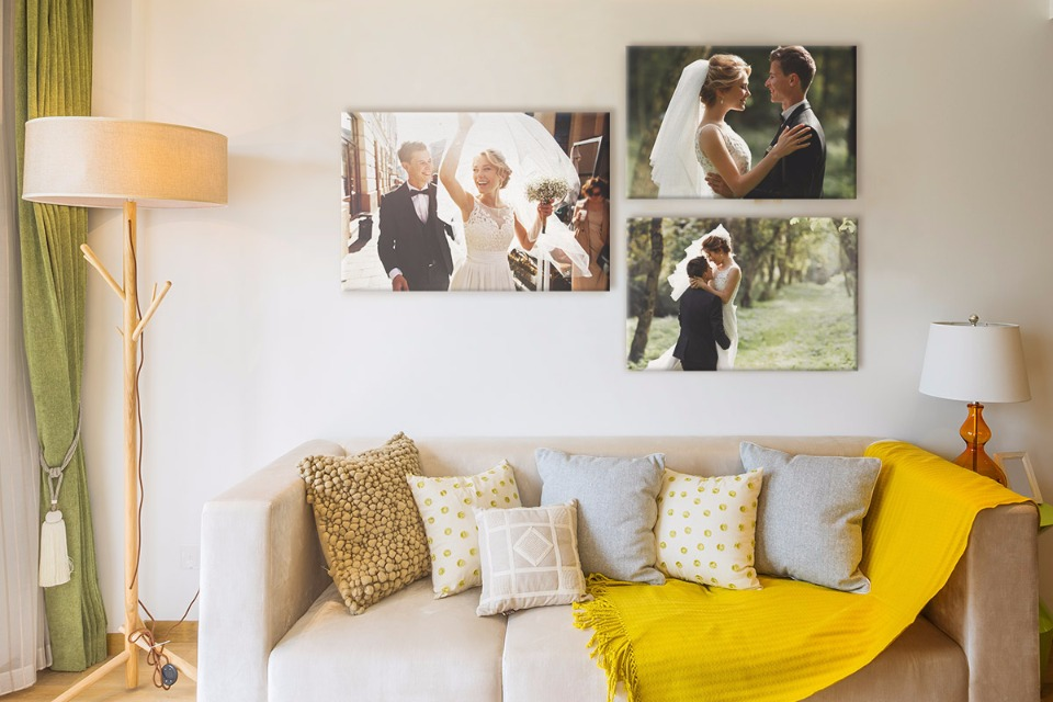 hang wedding photos in living room