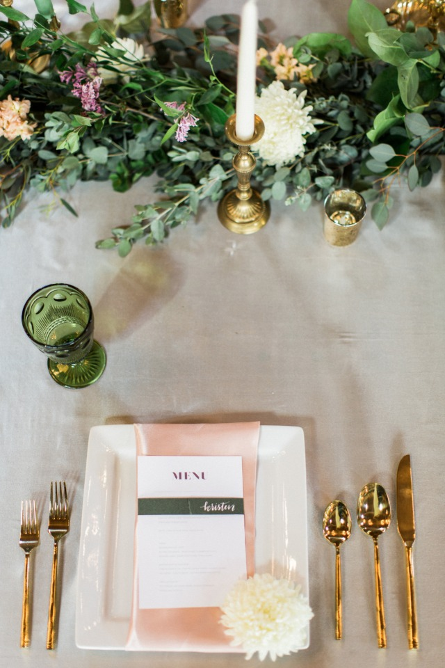 grey white and gold wedding table setting