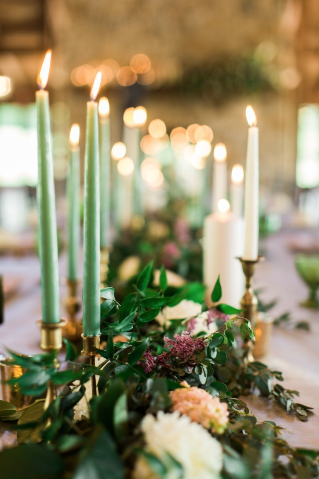 candle lit wedding tables