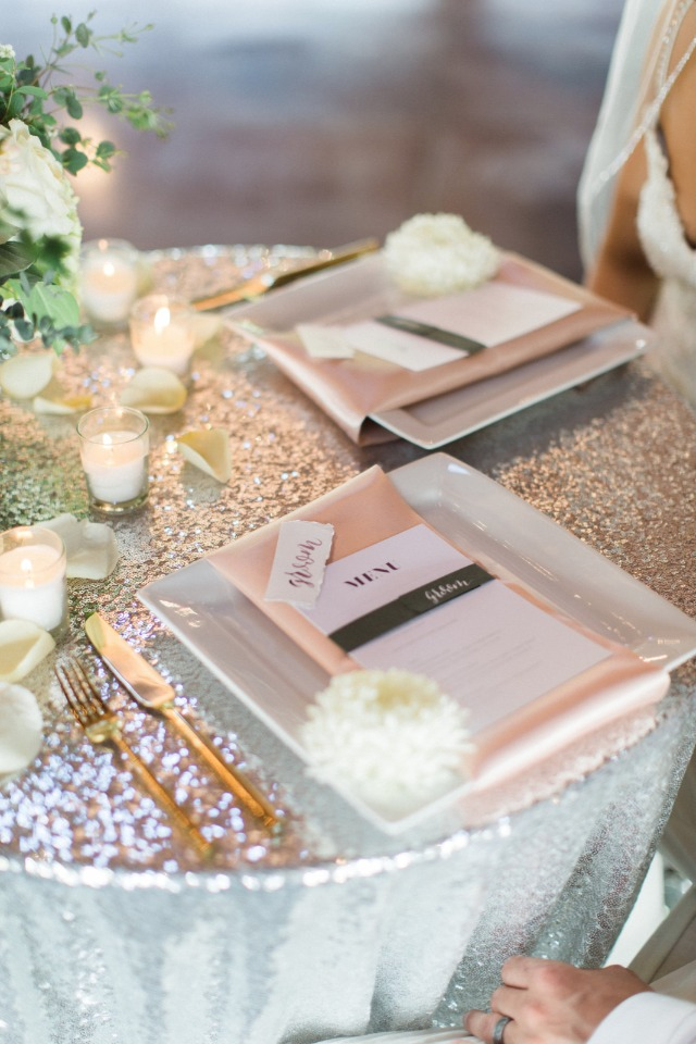bride and groom silver gold and pink sweetheart table