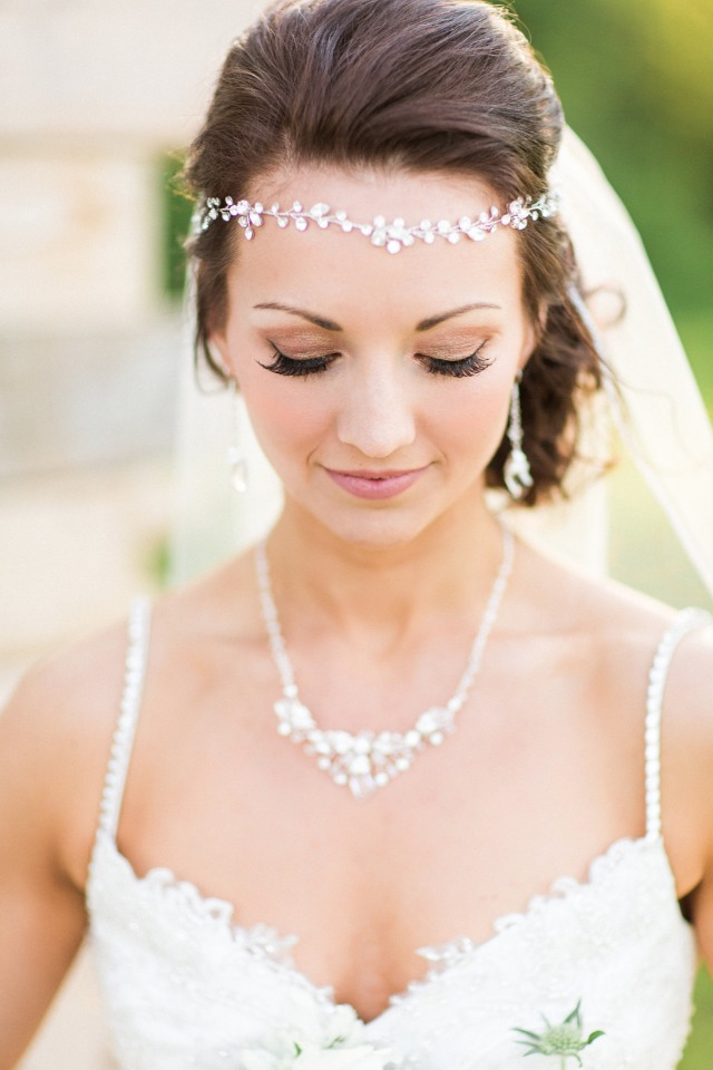 elegant bridal halo and necklace with fresh face makeup