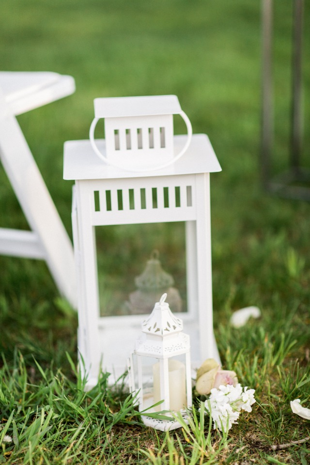 white lantern wedding ceremony aisle decor