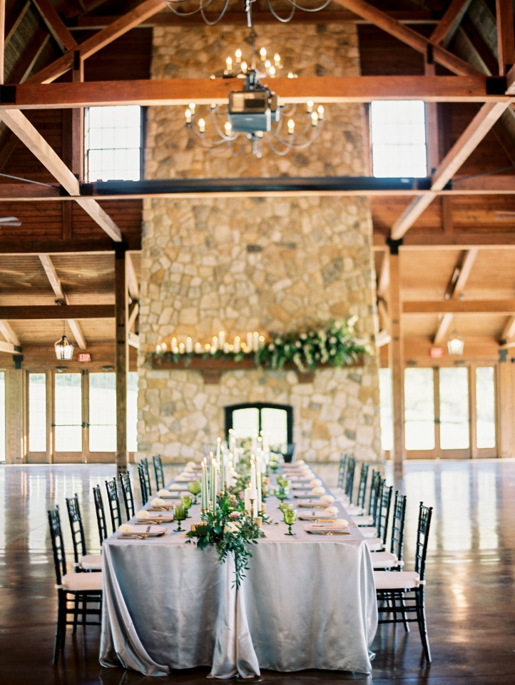 chic rustic wedding reception with family style seating