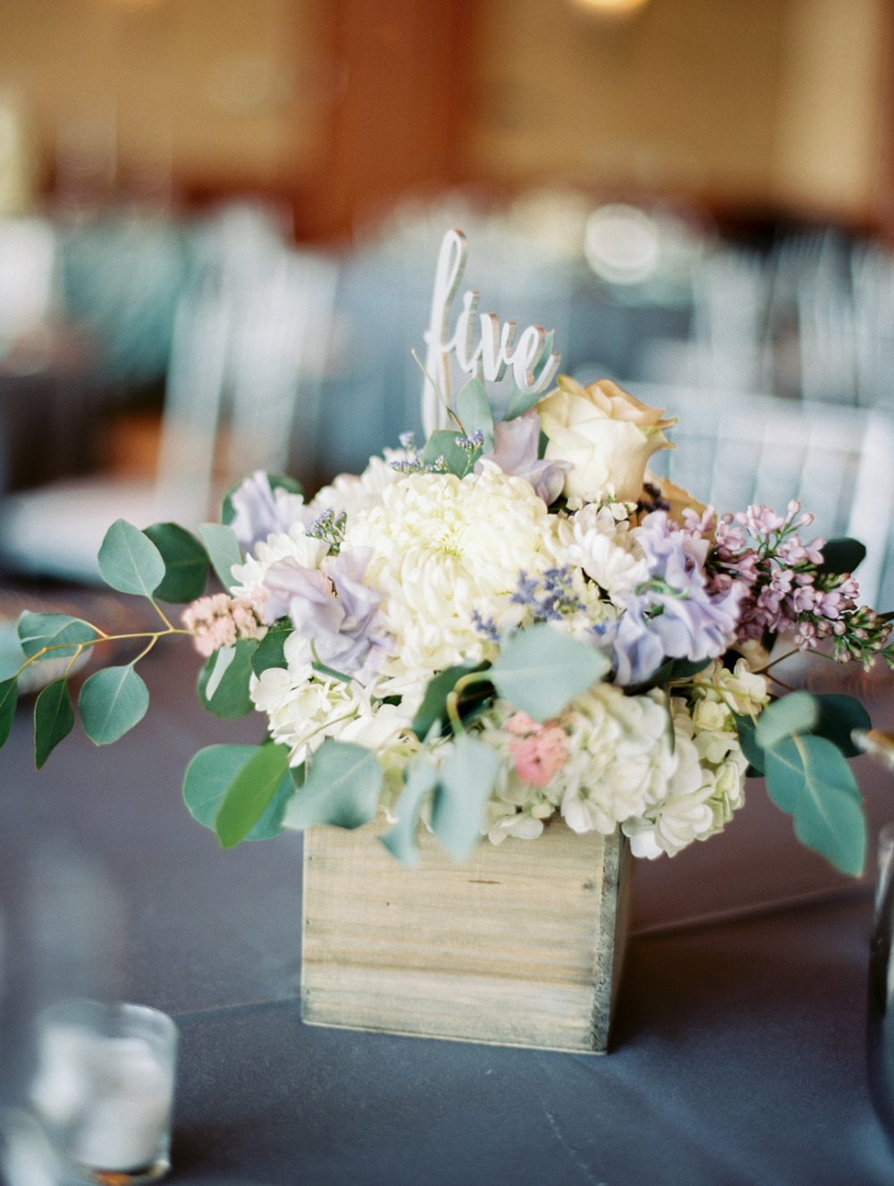 wood box wedding flower centerpiece and table number
