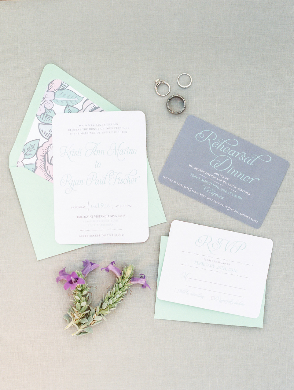 mint and periwinkle wedding invitations