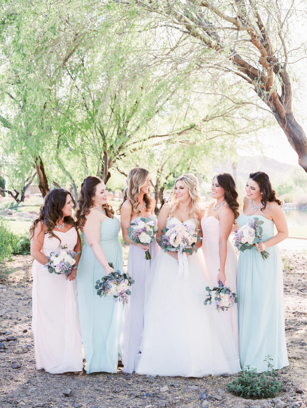 mint lavender and blush bridesmaid dresses