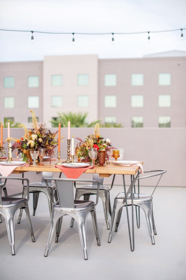 modern rooftop boho wedding reception idea