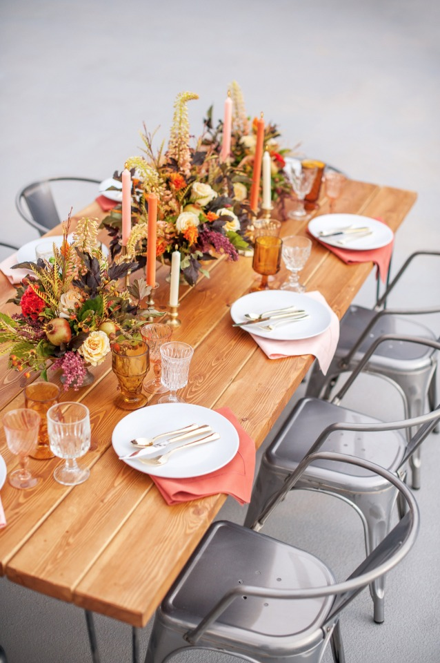 modern farm table with fall floral accents