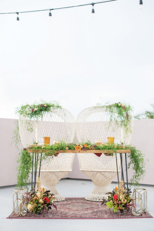 boho styled sweetheart table