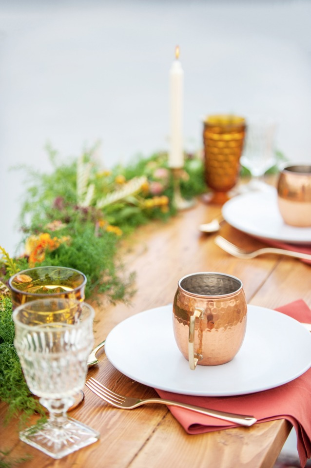copper mug place setting decor