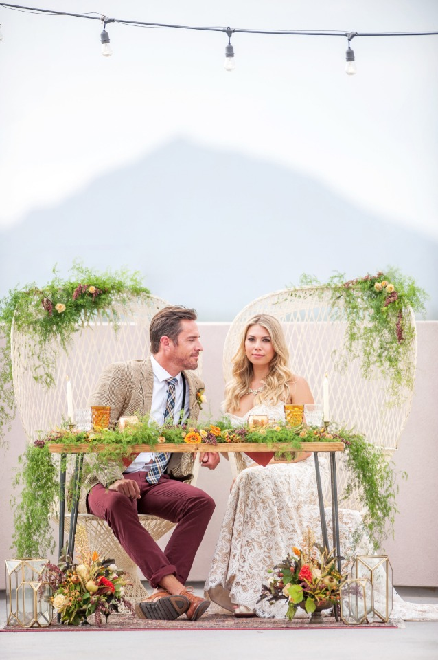 sweetheart table in a fun boho style