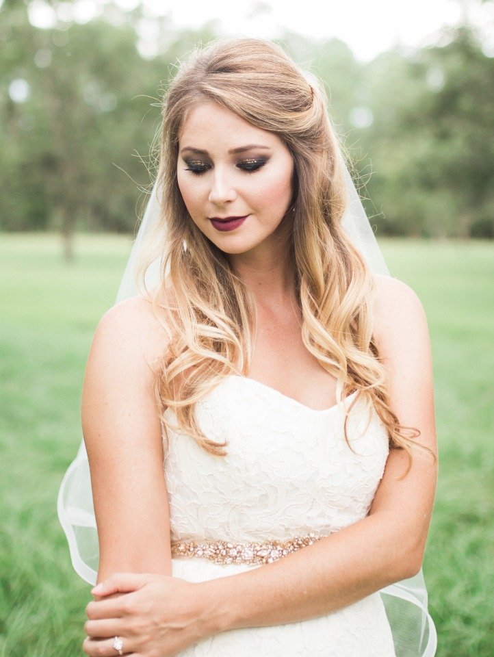 half up wedding hair and smokey fall wedding makeup
