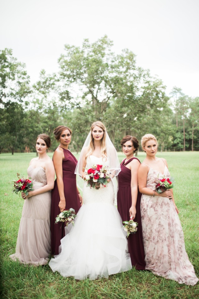 mix and matched bridesmaids