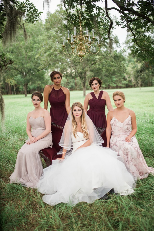 long bridesmaid dresses in wine and soft pink and floral patterns