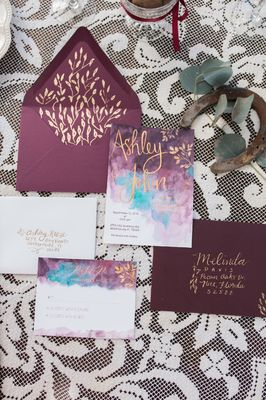 Purple and Gold Southern Ranch Wedding Ideas