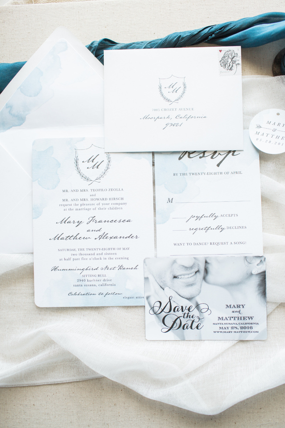 watercolor blue and white wedding invites